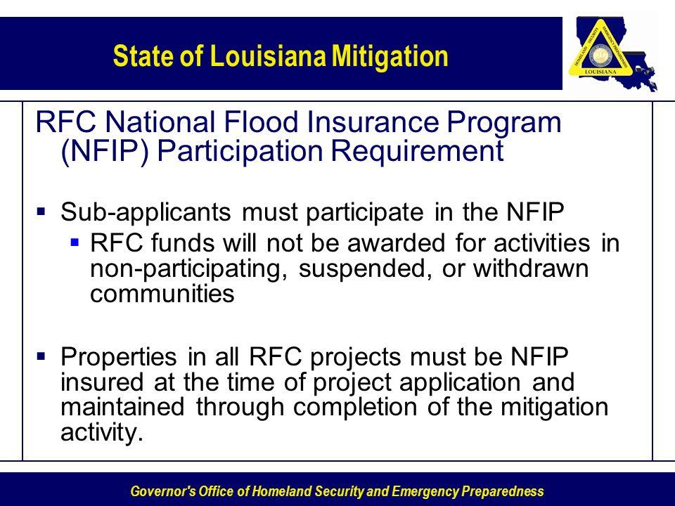 RFC National Flood Insurance Program (NFIP) Participation Requirement