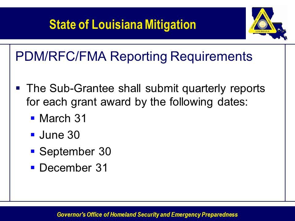 PDM/RFC/FMA Reporting Requirements
