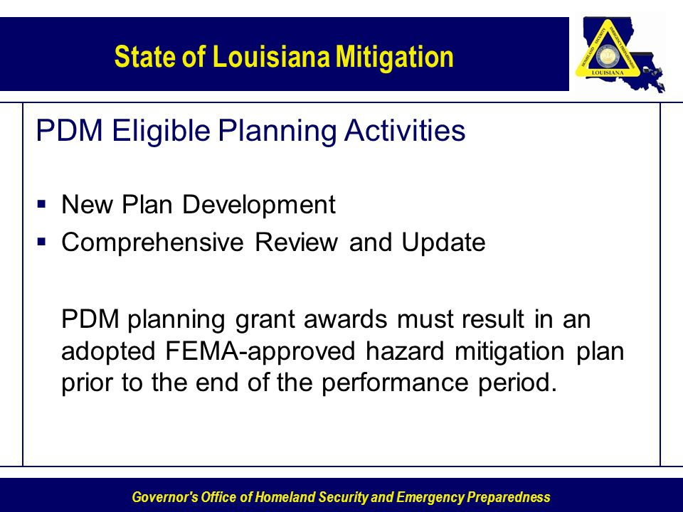 PDM Eligible Planning Activities