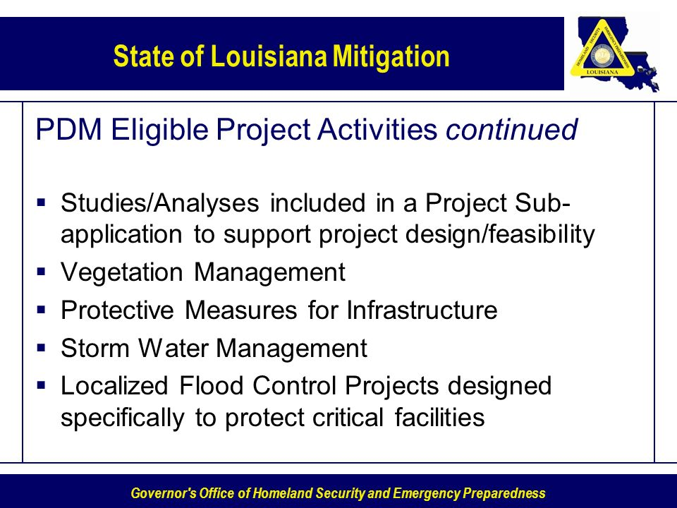 PDM Eligible Project Activities continued