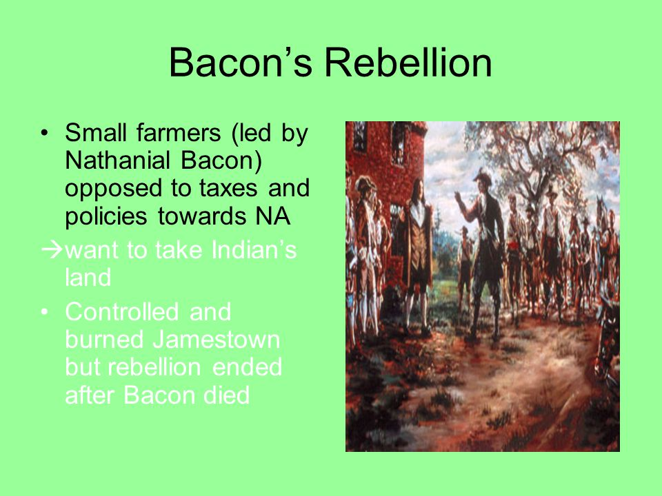 Bacon's Rebellion Small farmers (led by Nathanial Bacon) opposed to taxes and policies towards NA. want to take Indian's land.