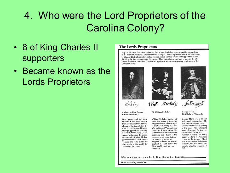 4. Who were the Lord Proprietors of the Carolina Colony
