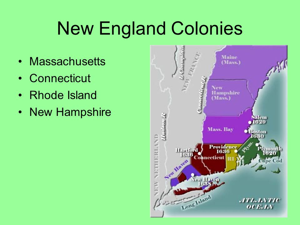 New England Colonies Massachusetts Connecticut Rhode Island