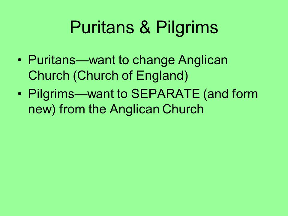 Puritans & Pilgrims Puritans—want to change Anglican Church (Church of England) Pilgrims—want to SEPARATE (and form new) from the Anglican Church.