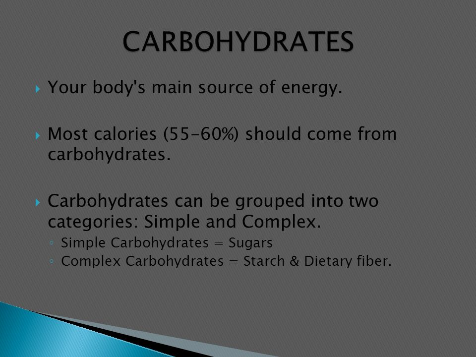 a summary on carbohydrates as the main energy source Skip to main content  and they are the primary source of energy  are widely used by organisms for structural and energy-storage purposes carbohydrates.
