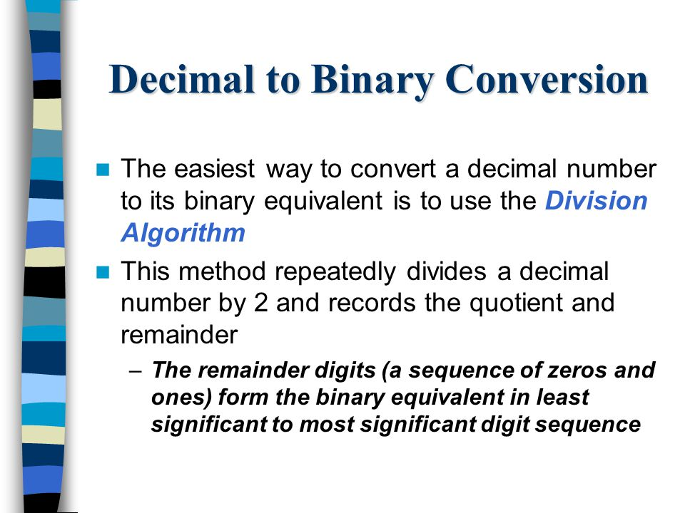 Binary to decimal conversion algorithm