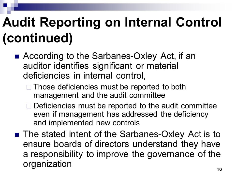 Audit Reporting on Internal Control (continued)