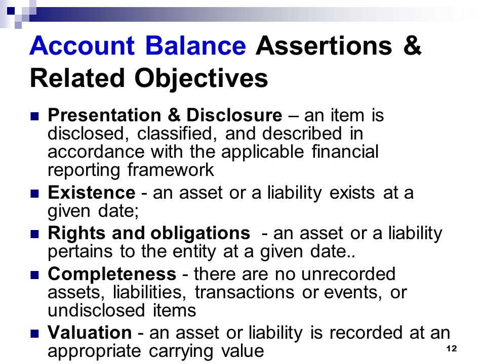 Account Balance Assertions & Related Objectives