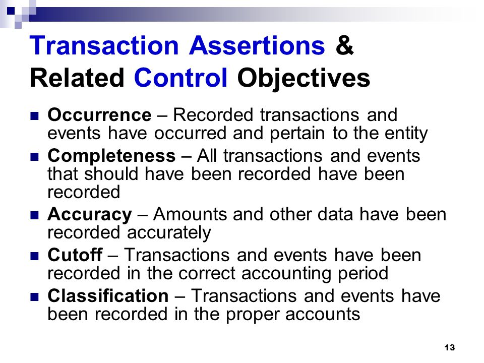 Transaction Assertions & Related Control Objectives