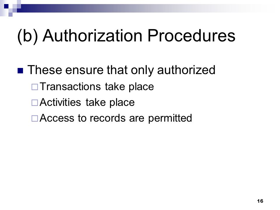 (b) Authorization Procedures