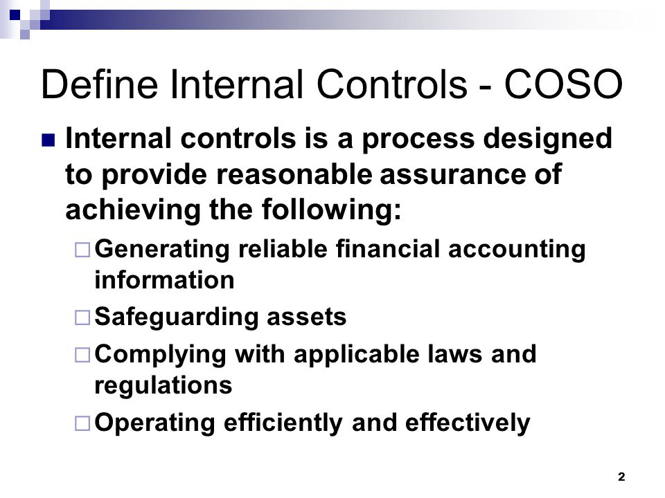 Define Internal Controls - COSO