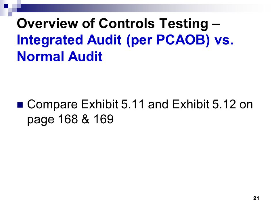 Overview of Controls Testing – Integrated Audit (per PCAOB) vs