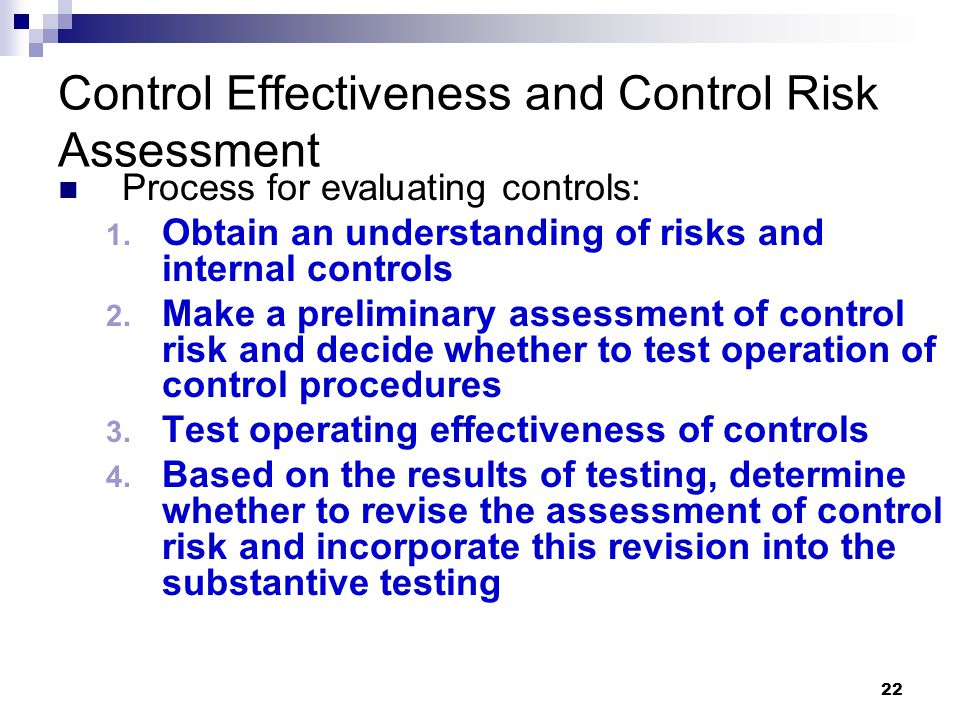 Control Effectiveness and Control Risk Assessment