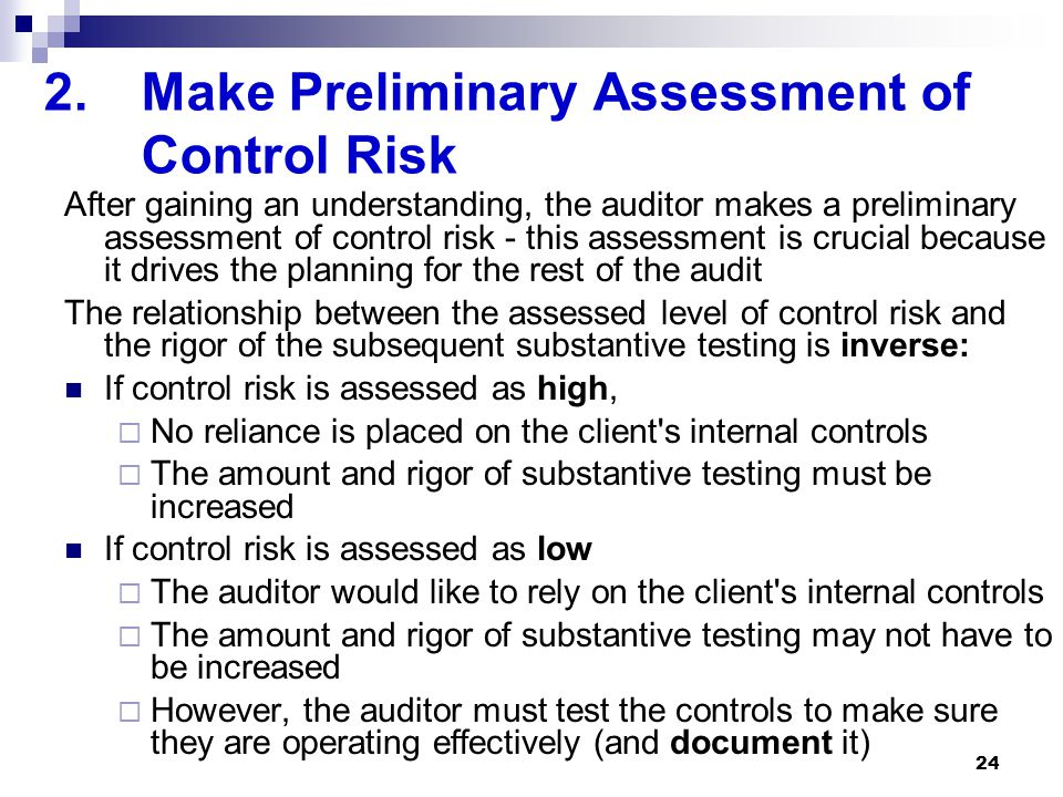 Make Preliminary Assessment of Control Risk