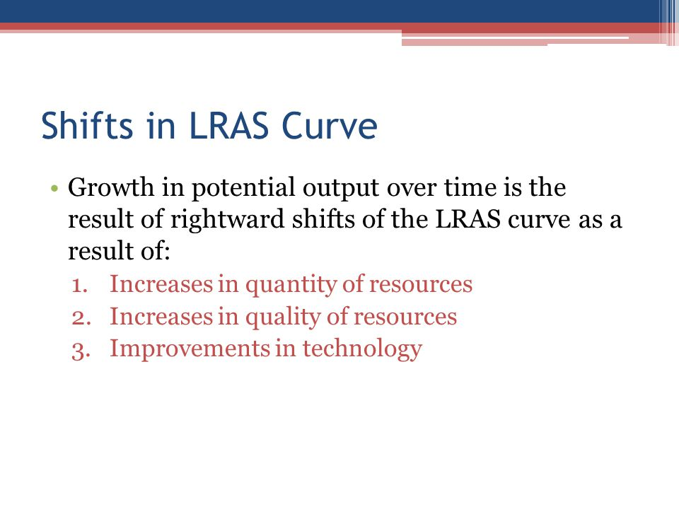 Shifts in LRAS Curve Growth in potential output over time is the result of rightward shifts of the LRAS curve as a result of: