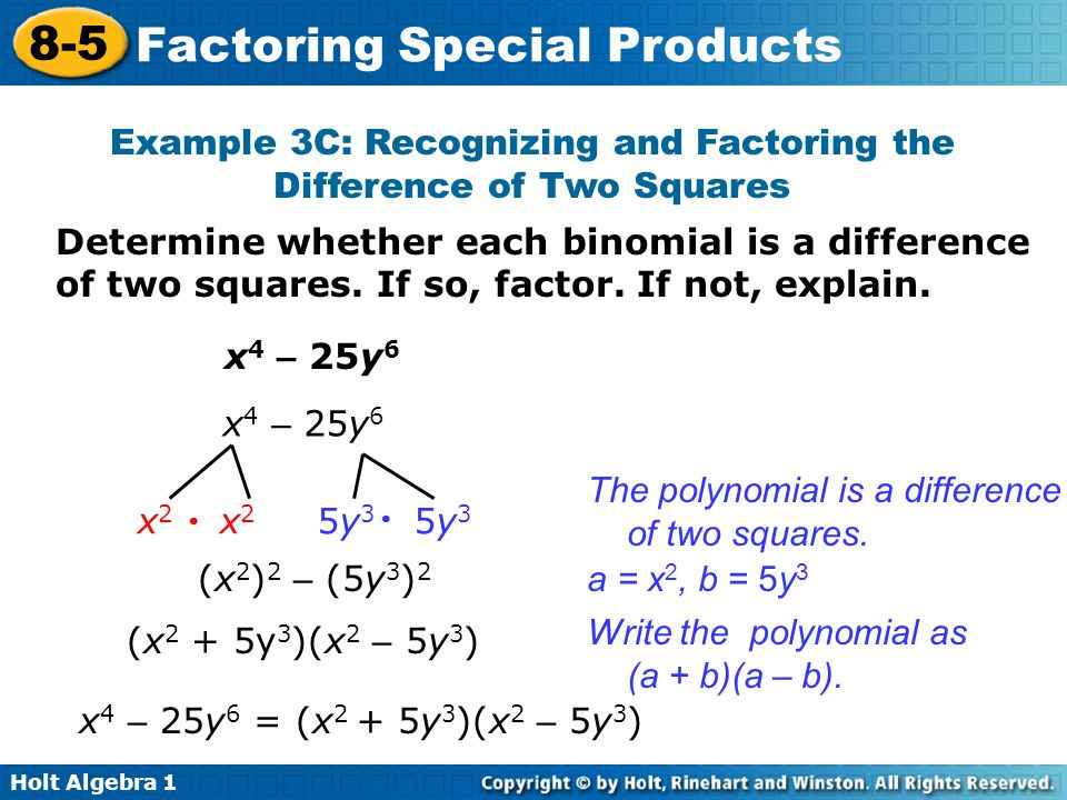 Objectives Factor the difference of two squares ppt download – Factoring Special Products Worksheet