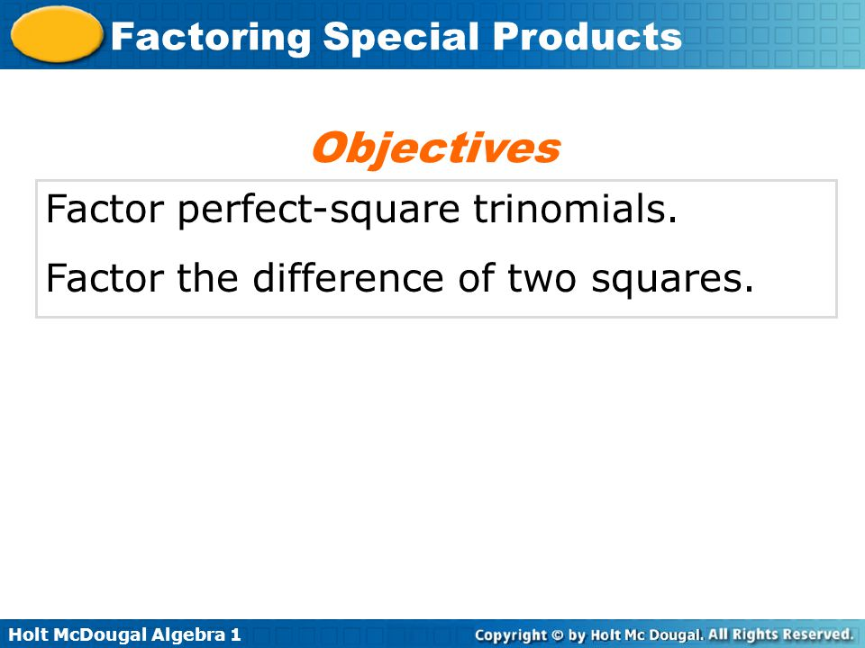 Factoring Special Products ppt video online download – Factoring Special Products Worksheet
