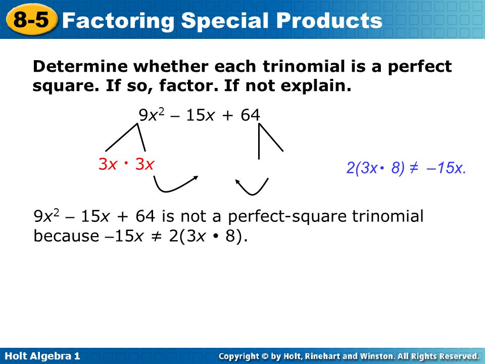 how to tell if a trinomial is a perfect square