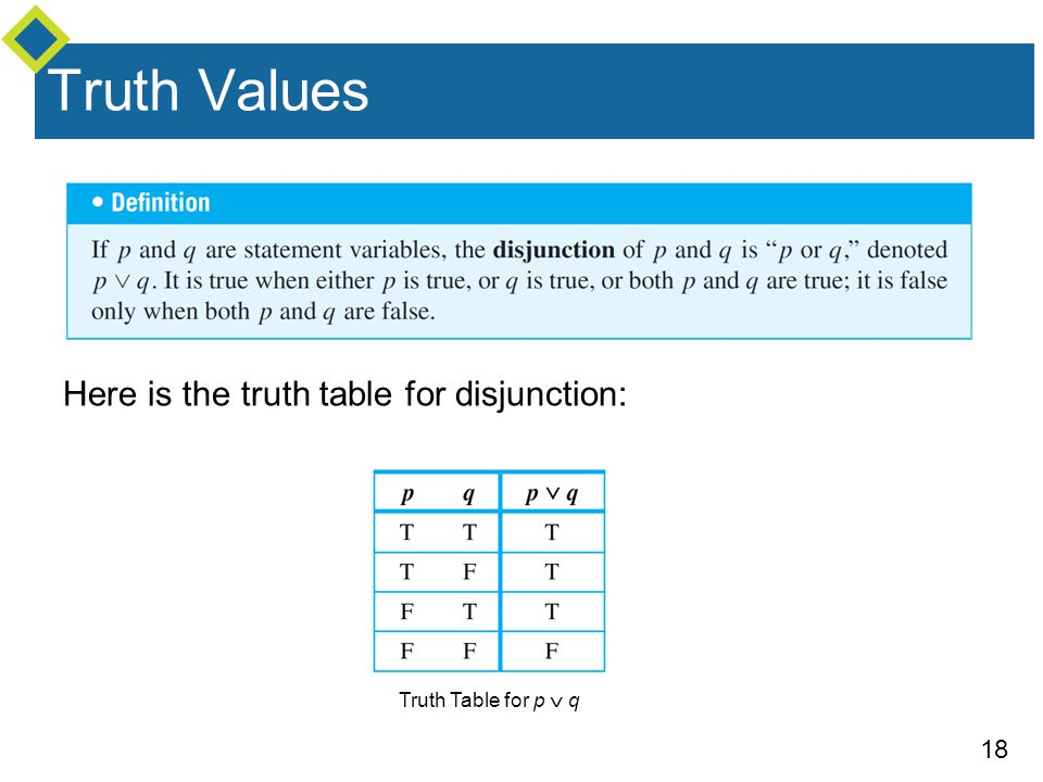 Truth Values Here is the truth table for disjunction: