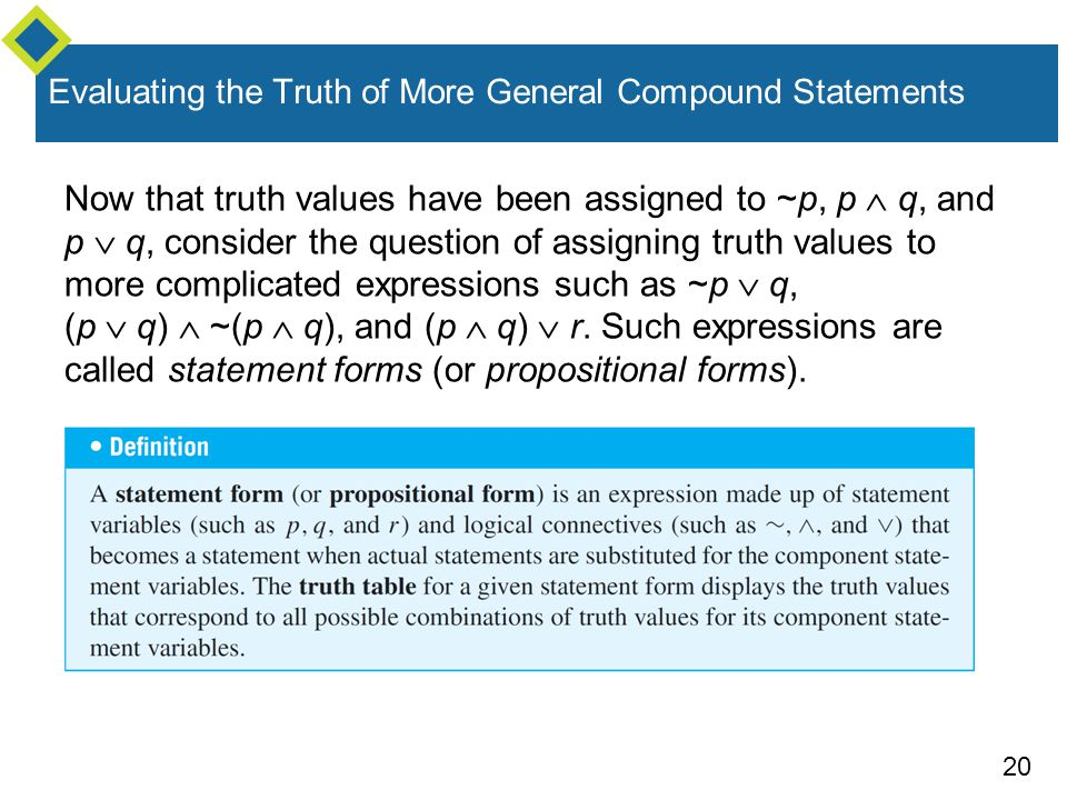 Evaluating the Truth of More General Compound Statements