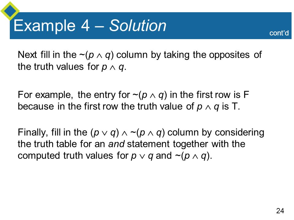 Example 4 – Solution cont'd. Next fill in the ~(p  q) column by taking the opposites of the truth values for p  q.