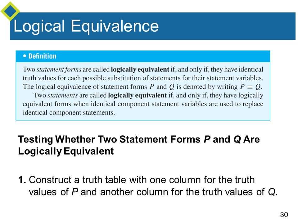 Logical Equivalence Testing Whether Two Statement Forms P and Q Are Logically Equivalent.