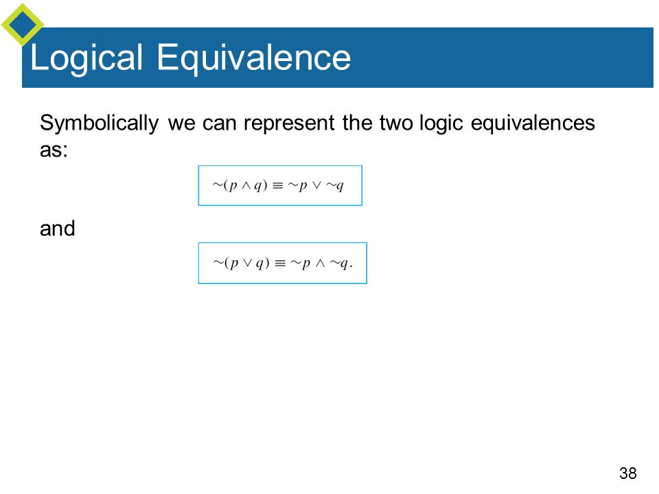 Logical Equivalence Symbolically we can represent the two logic equivalences as: and