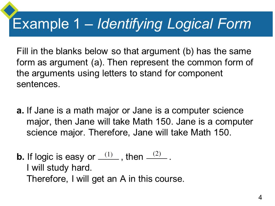 Example 1 – Identifying Logical Form