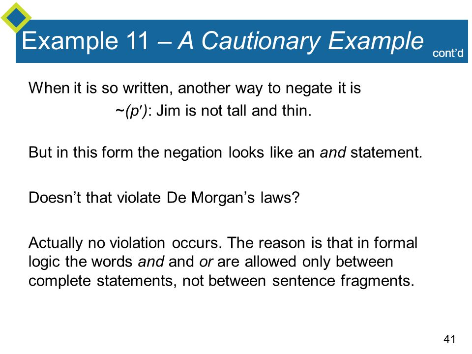 Example 11 – A Cautionary Example