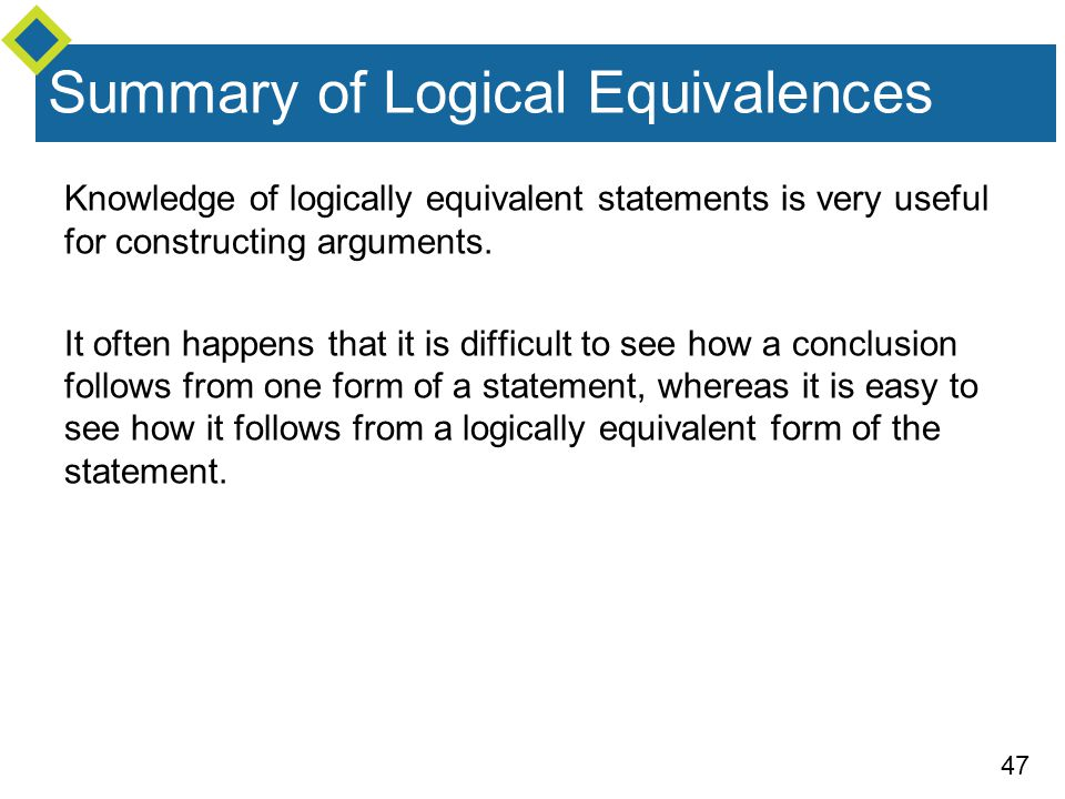 Summary of Logical Equivalences