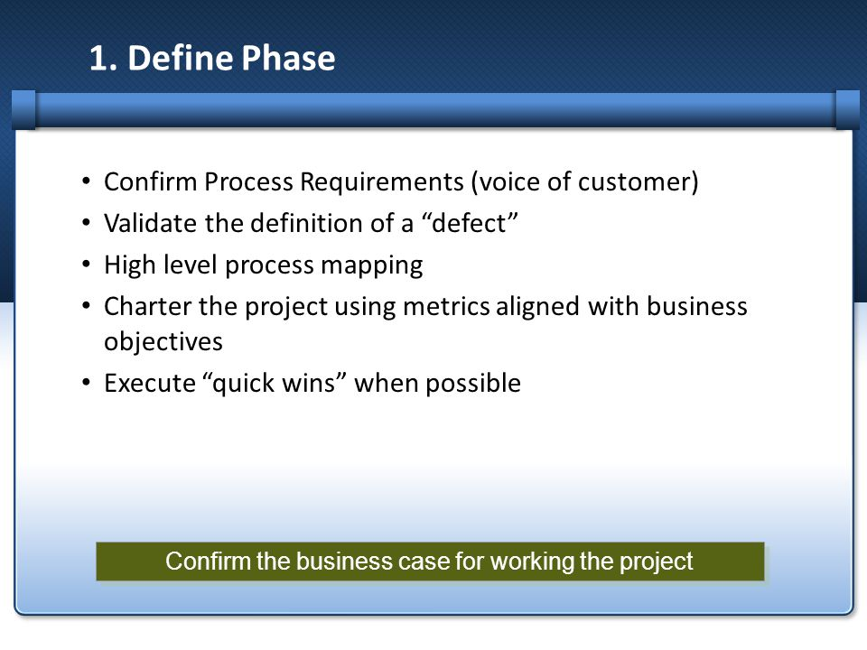 Confirm the business case for working the project