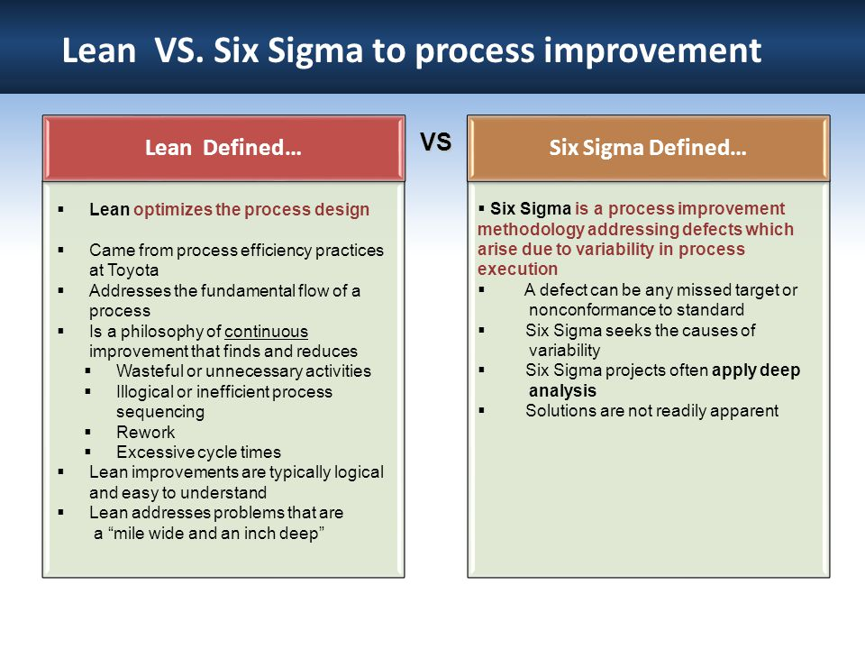 Lean VS. Six Sigma to process improvement