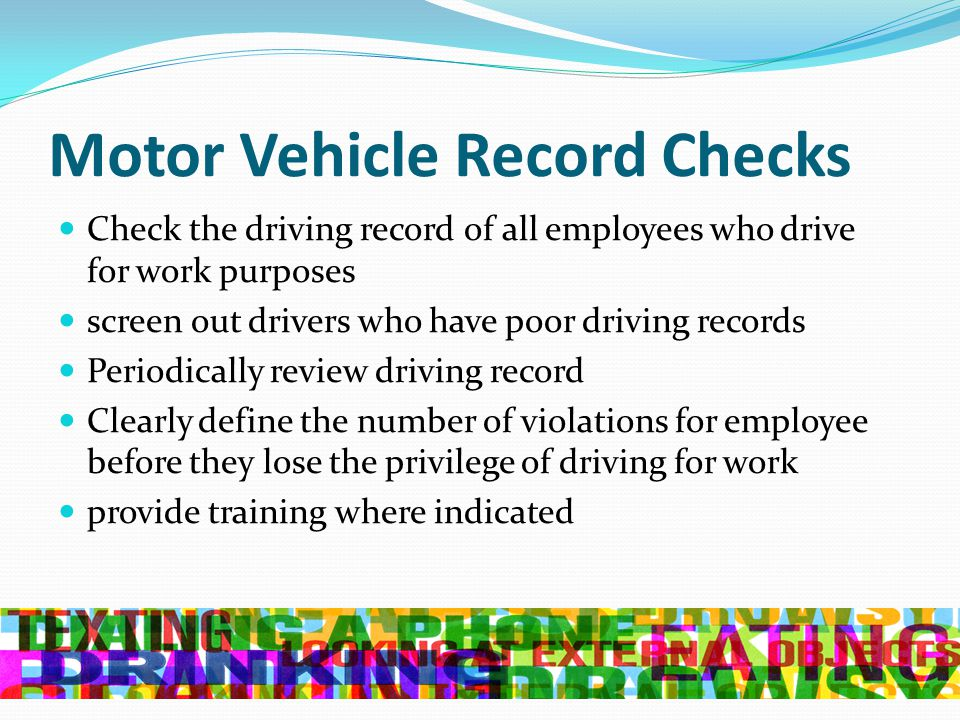 Traffic safety strategies for the workforce ppt video for Motor vehicle driving record