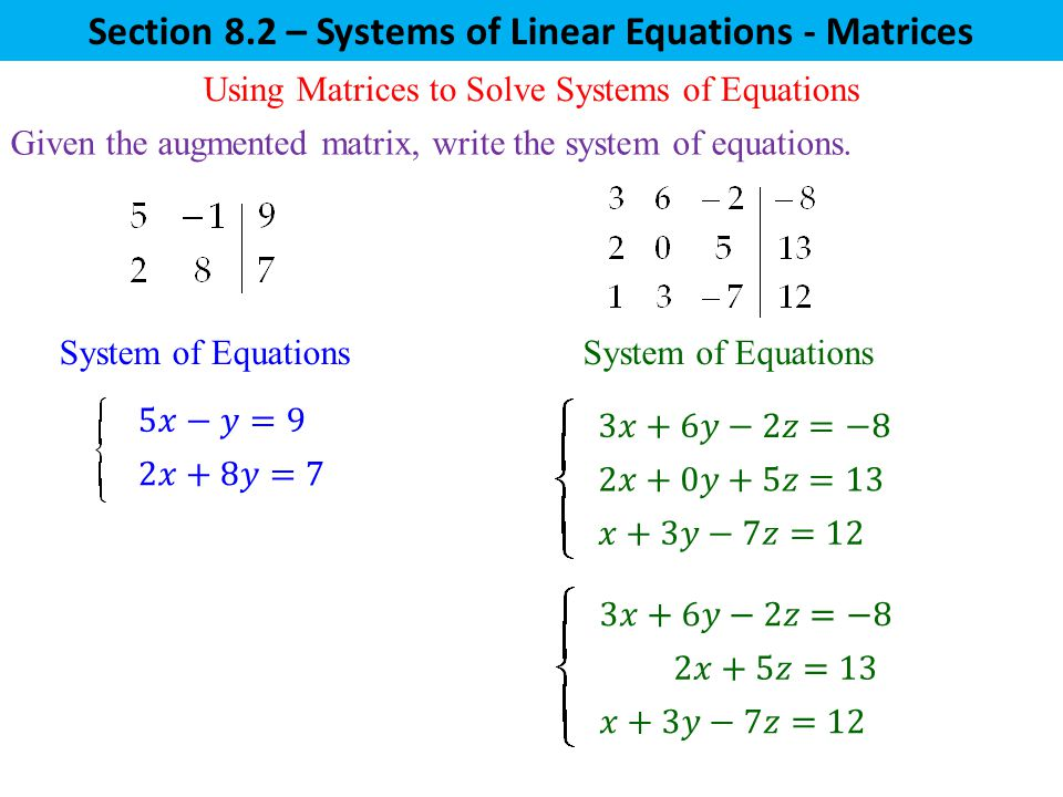 Writing a system of linear equations
