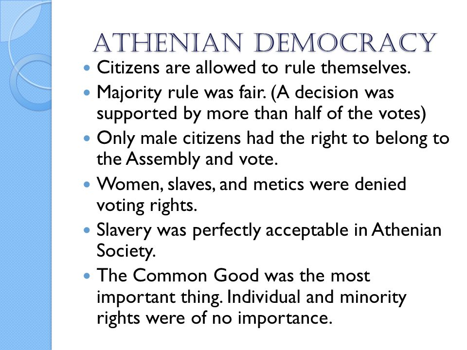 the athenian democracy The athenian democracy was athens really a democracy athens has become the undisputed model for democracy, notwithstanding the fact that she maintained a large slave population and democratic privileges were reserved for a few individuals.