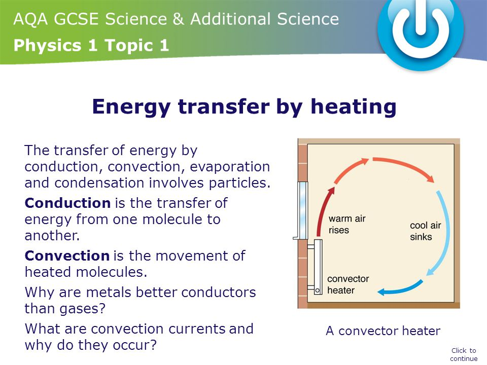 Energy transfer by heating