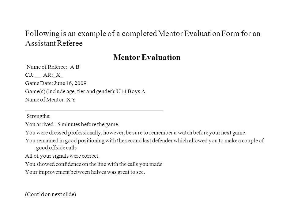 Soccer Nova Scotia Referee Development Committee Mentor Program ...