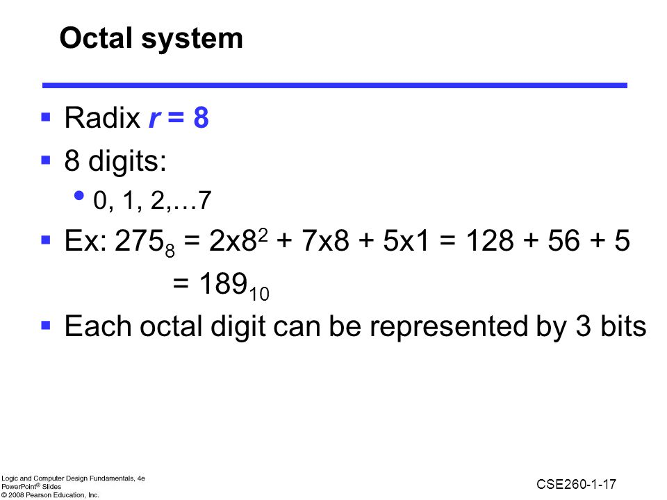 Each octal digit can be represented by 3 bits