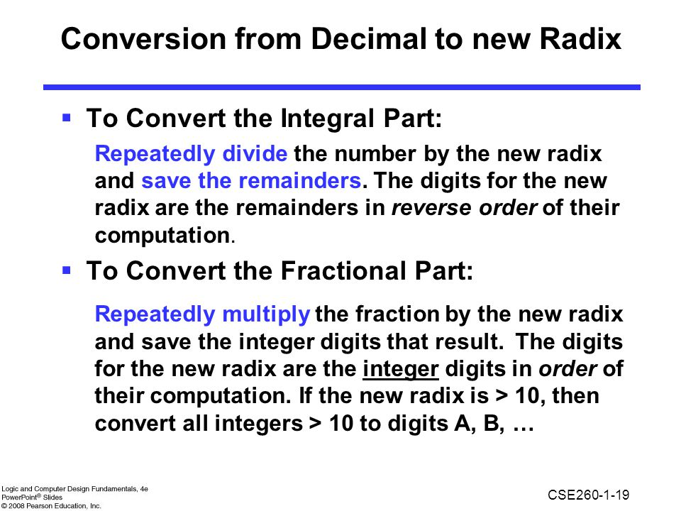 Conversion from Decimal to new Radix