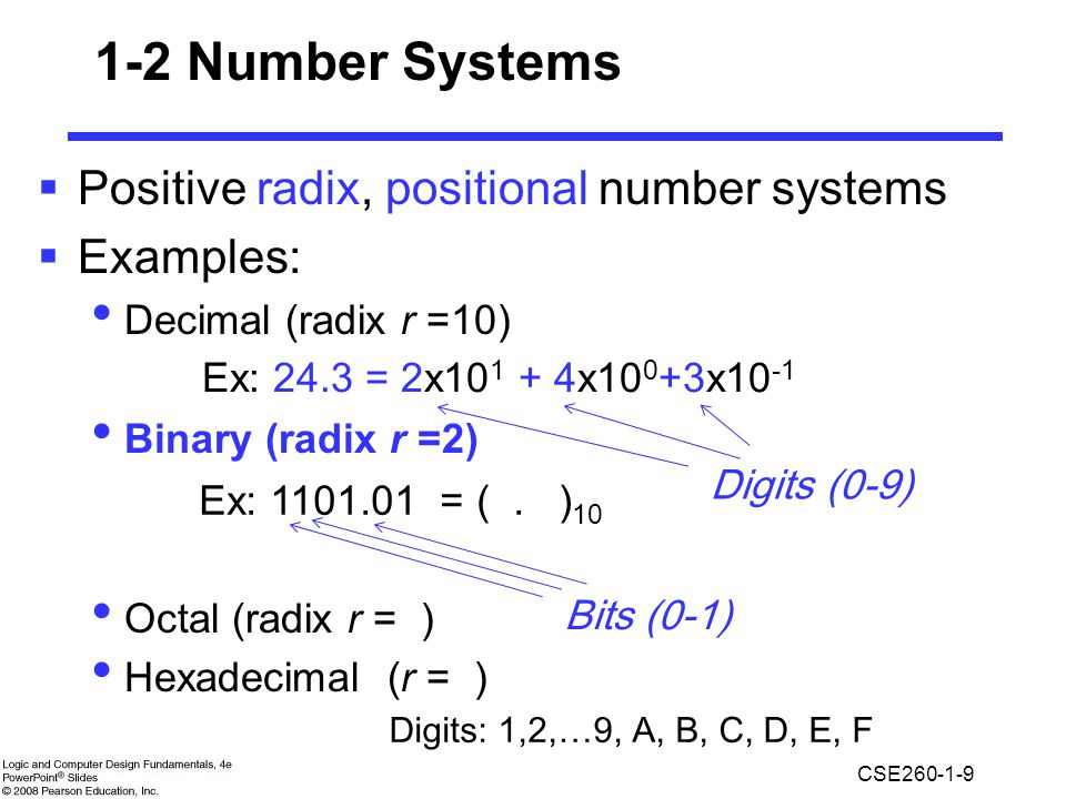 1-2 Number Systems Positive radix, positional number systems Examples: