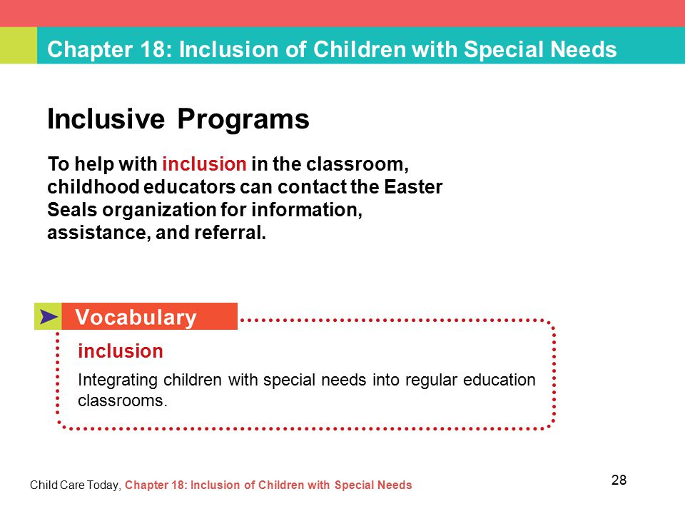 integrating children with special needs into School logo here mainstream integration of children with special needs into st anne's national school, ardclough introduction: inclusion is seen as a process of addressing and responding to the diversity of needs of learners through.