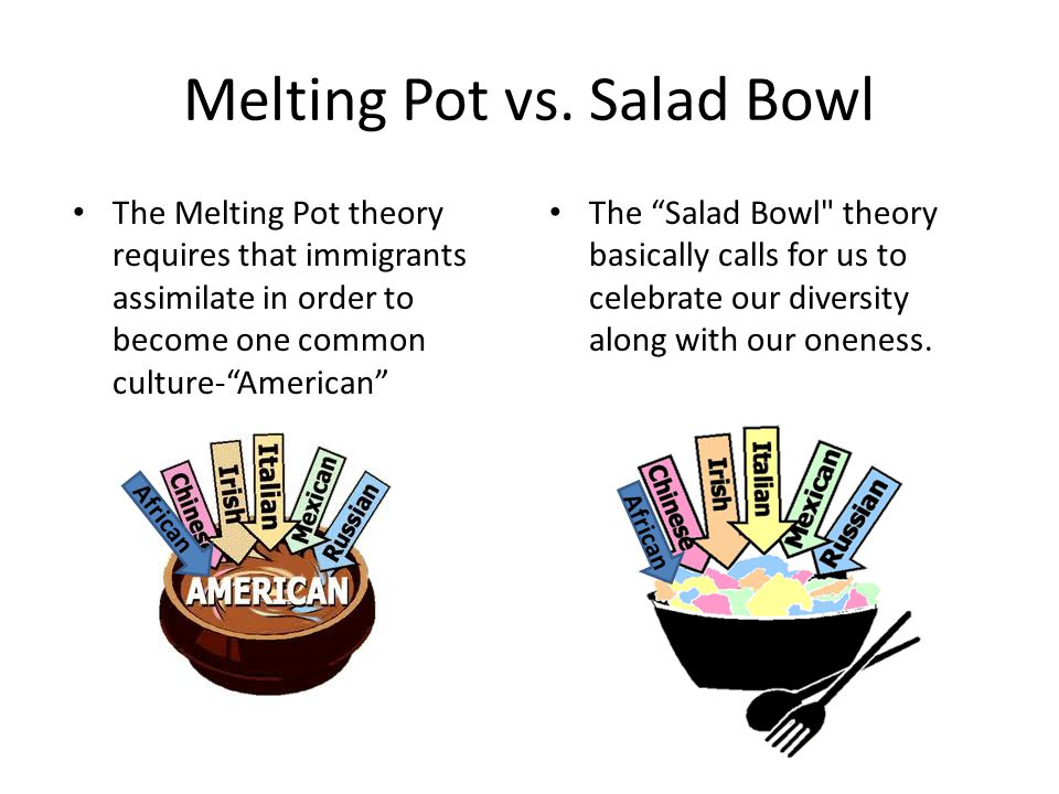 Cultural Diversity in America: Melting Pot vs Salad Bowl.