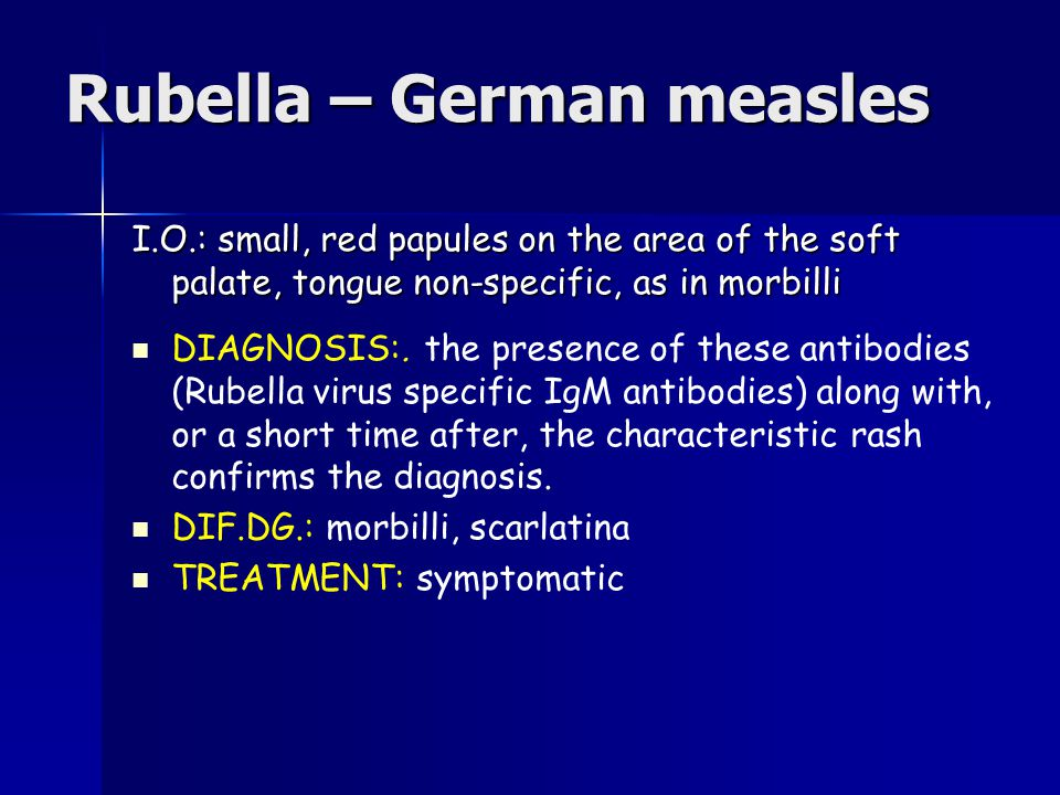 rubella virus diagnosis and treatment The fetus is infected with the rubella virus  the differential diagnosis of congenital rubella retinitis consists of  for congenital rubella and treatment is.