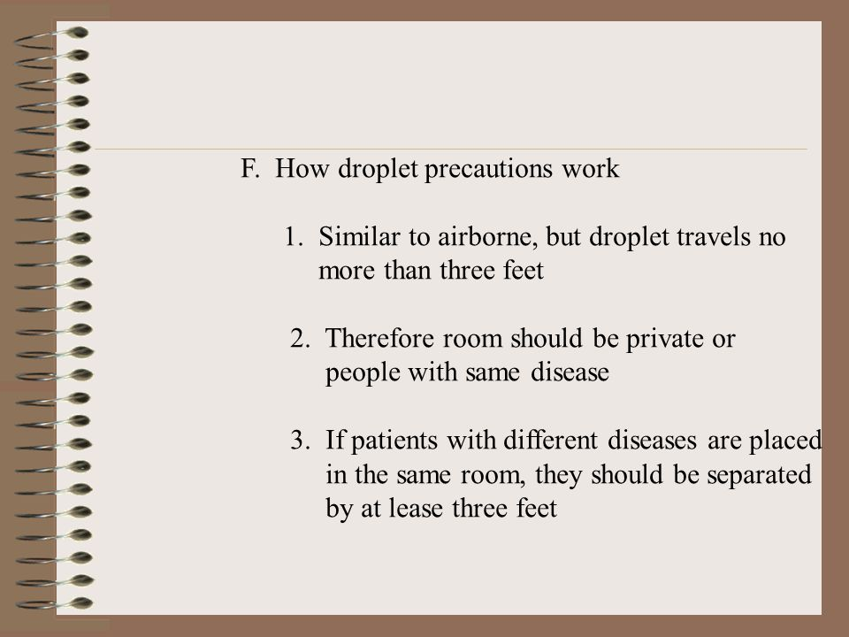 F. How droplet precautions work