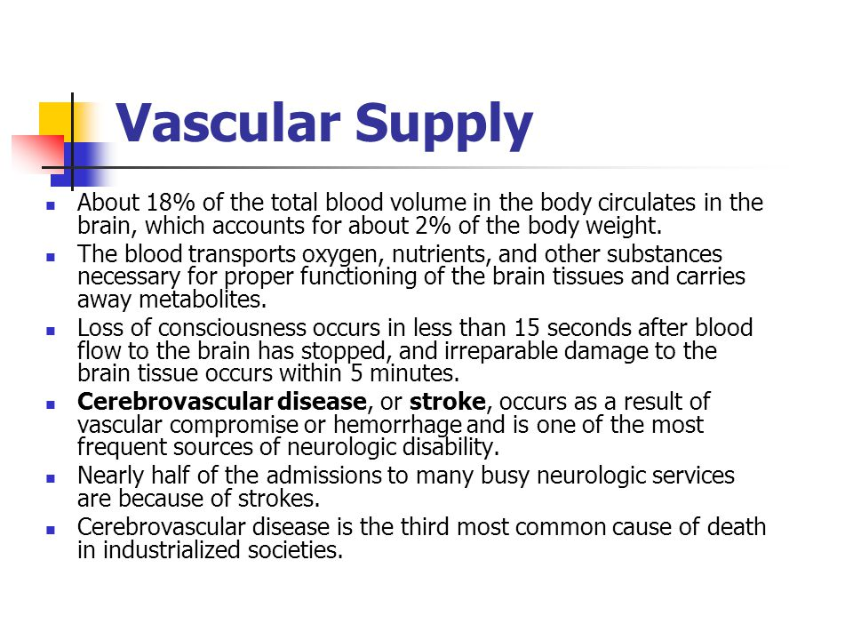 Vascular Supply About 18% of the total blood volume in the body circulates in the brain, which accounts for about 2% of the body weight.