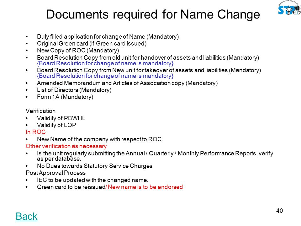 Uniformity approach of statutory services stp ehtp scheme for Documents needed to change my name