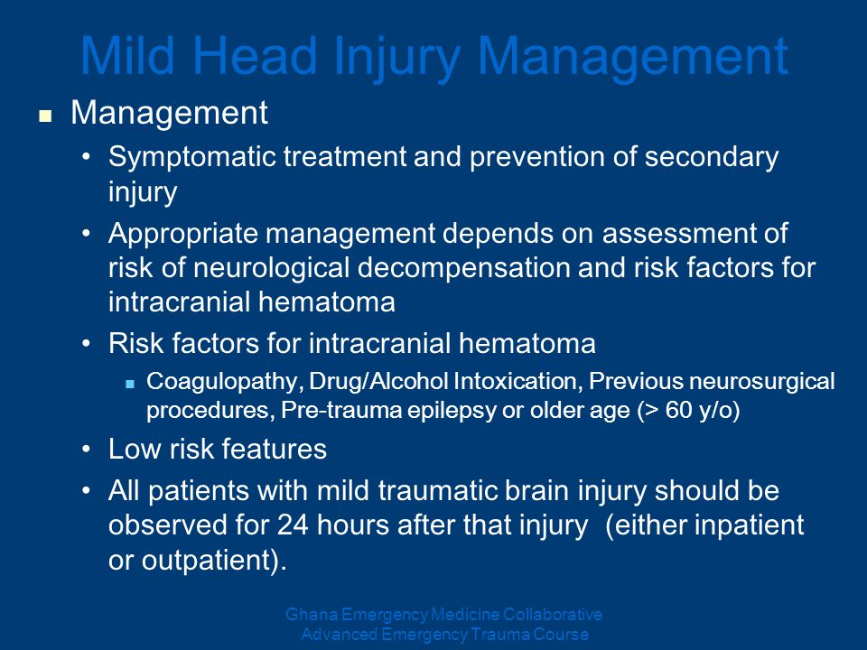 treatment for patients with trauma after head on collisions Unfortunately, the risk of traumatic intracranial hemorrhage after blunt head trauma for patients on warfarin and clopidogrel, has never really been studied in a large generalizable cohort or under a rigorous, prospective, multicenter designed studies.