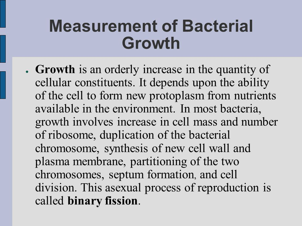 Measurement of Bacterial Growth
