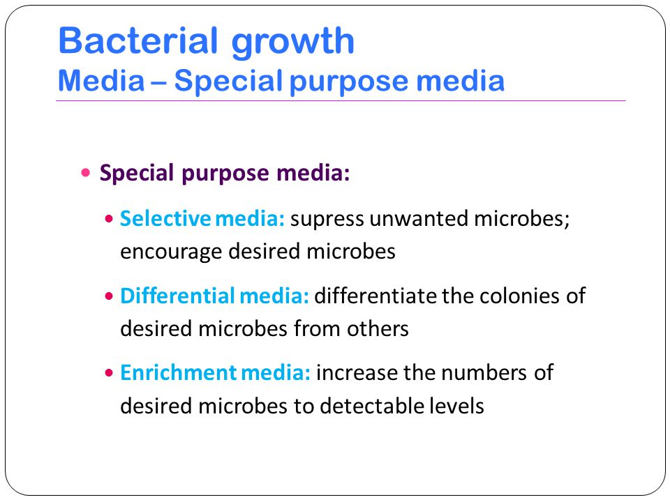 Bacterial growth Media – Special purpose media