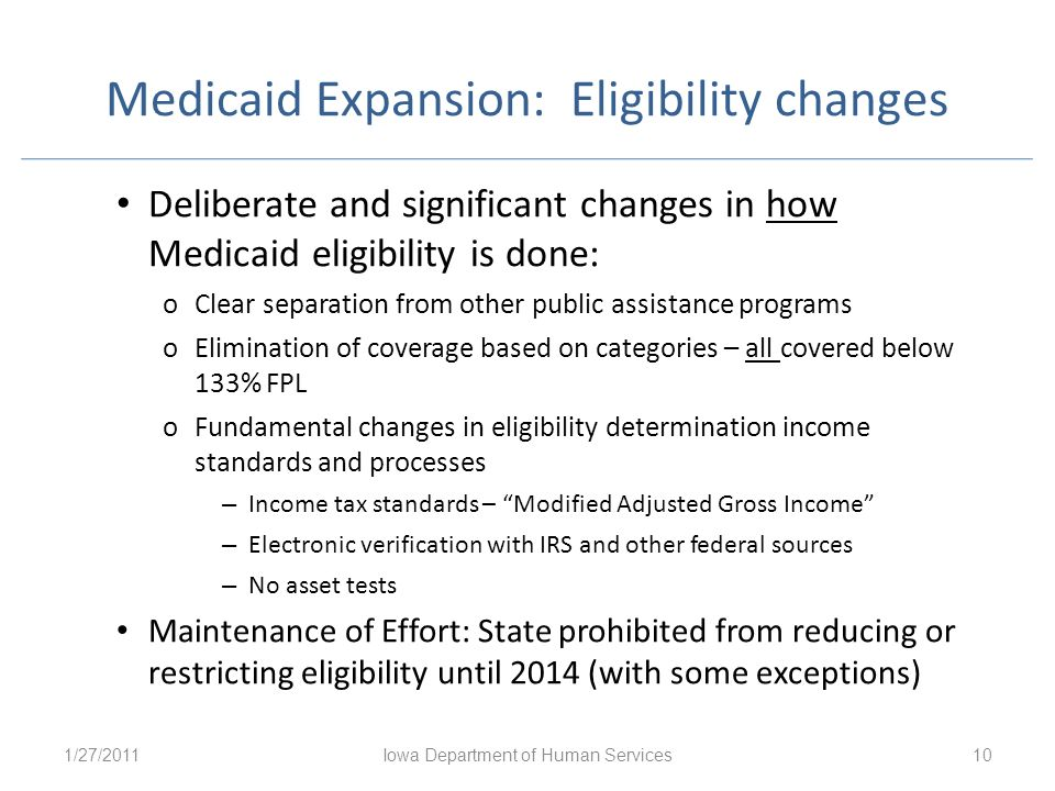 Medicaid Expansion: Eligibility changes
